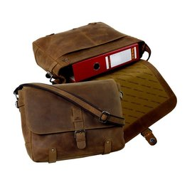 Old School leren messenger bag