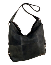 Denim grey washed leren shopper bag